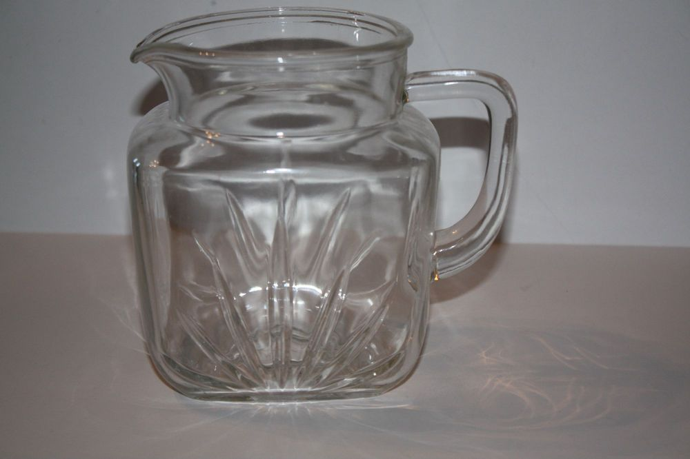 Small Square Vintage Clear Glass Juice Pitcher Juice Pitcher Clear Glass Pitcher