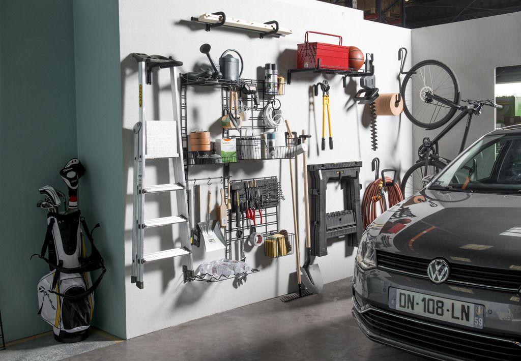 Crochet De Rangement Mural Double Incurve Noir Walltech Rangement Mural Rangement Garage Rangement