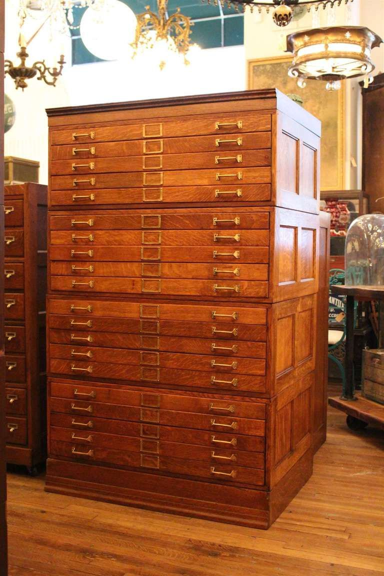 20 Drawer Tiger Oak Map Cabinet or Flat File with Original ...