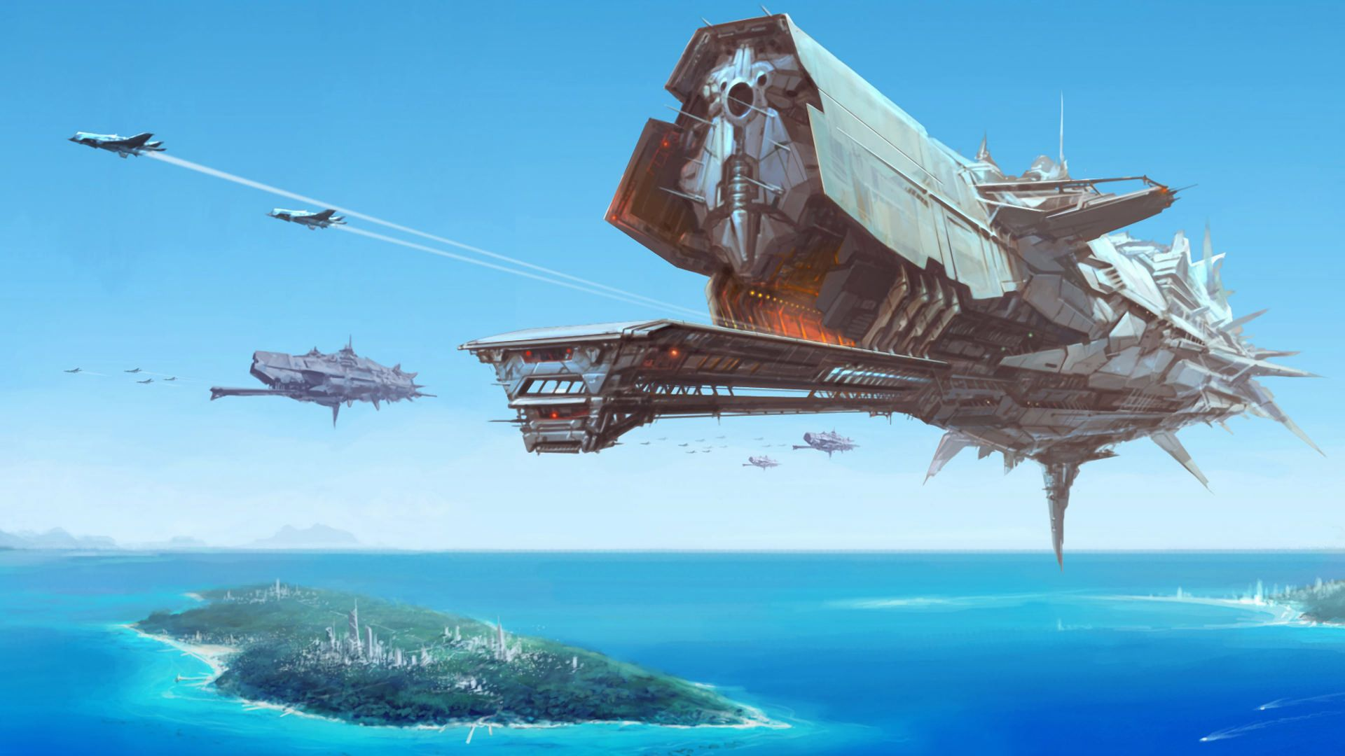 Black themed spaceship conceptual artwork and wallpapers 1 design - Sci Fi Battle Space Ship Wallpaper 1920 X Impressive Digital Painting Of A Enormous Battle Space Ship Flying Over A Futuristic City Island