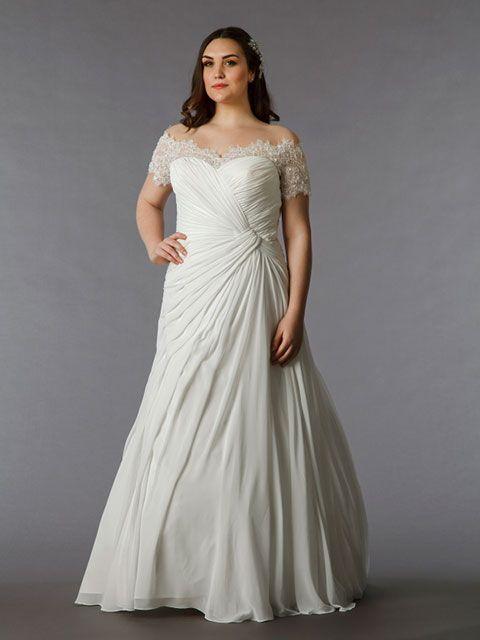 vestido de novia línea a talla grande escote ilusión manga camiseta