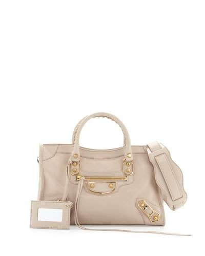 2ab0805e8d BALENCIAGA Classic Metallic Edge City Small Bag, Beige Praline. #balenciaga  #bags #leather #lining #metallic #shoulder bags #hand bags #cotton #