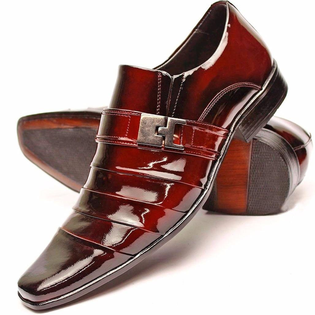 58650c8a0 Sapato Social Masculino Casual Couro Verniz Alto Brilho - R$ 169,00 em Mercado  Livre