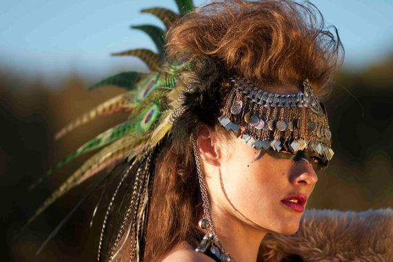 Feather Headdress - Feather Hair Clip- Urban Warrior Goddess Feather Headdress