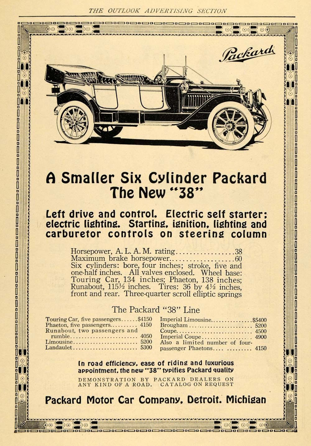1912 Ad Packard 38 Motor Car Detroit Automobile Line Original