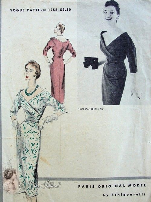 1950s Rare Schiaparelli Vogue Paris Original Model 1256