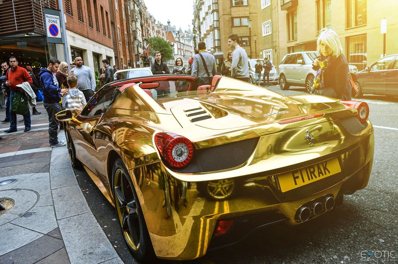 Chrome Gold Ferrari 458 Spider With Images Ferrari 458 New