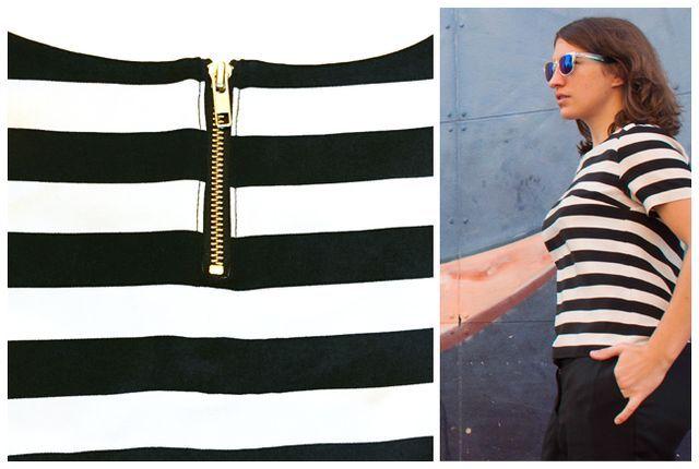Ich mag es Kleidungsstücke - insbesondere Schlichte - mit kleinen Details zu versehen. Mein letztes Outfit mit schwarz-weiß gestreiftem Shirt habe ich zum Beispiel mit einem kurzen Reißverschluss im h