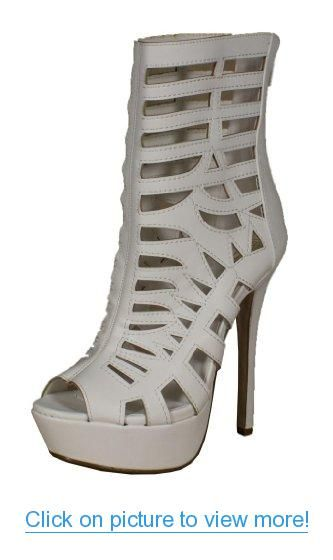 9fe64805e4c4 By Speed Limit 98 Strappy Mid Calf High Heel Gladiator Sandal in White  Leatherette