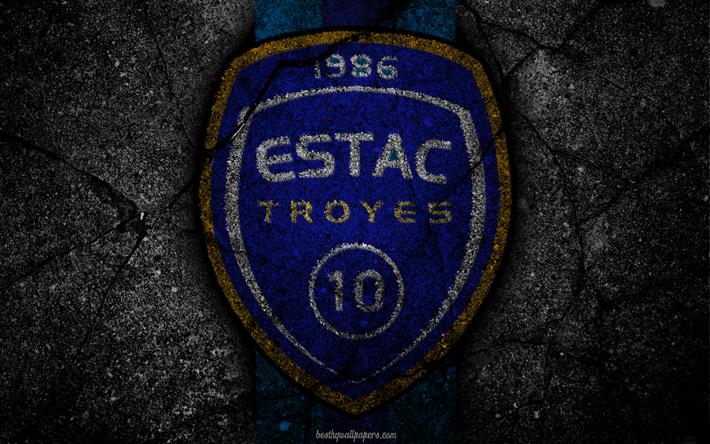 Lataa kuva Troyes, logo, art, Liga 1, jalkapallo, Troyes AC, football club, Ligue 1, grunge, FC Troyes