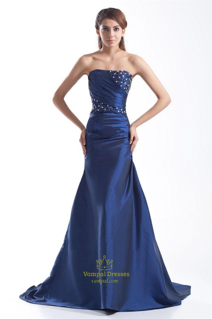navy blue mermaid strapless prom dressnavy blue prom