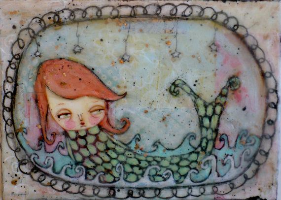 Beautiful mermaid, mixed media beeswax painting. I think this should be hanging in my bathroom.