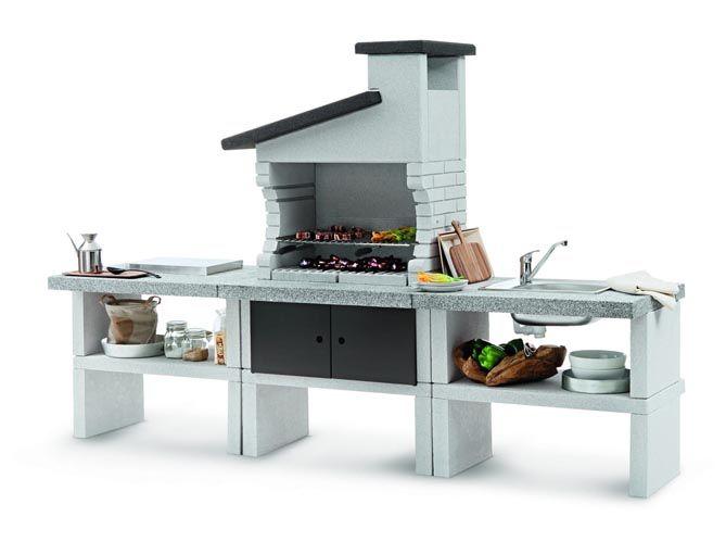 Une cuisine du0027extérieur en pierre Román Pinterest Barbecues