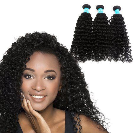 Deep Curly Human Hair 12 24 3 Bundles 6a Brazilian Weave Sliky Hair Extensions Walmart Com Remy Human Hair Weave Weave Hairstyles Colored Curly Hair