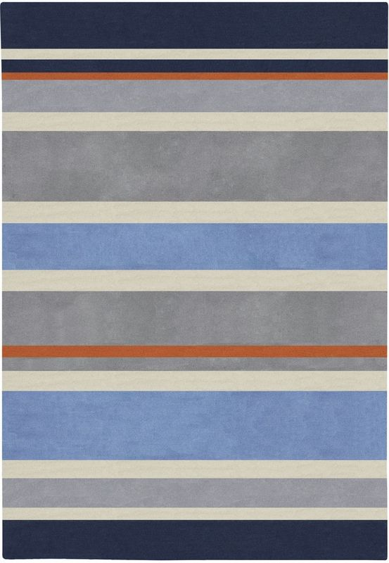 Love The Navy Gray And Orange In This Striped Rug Perfect For A
