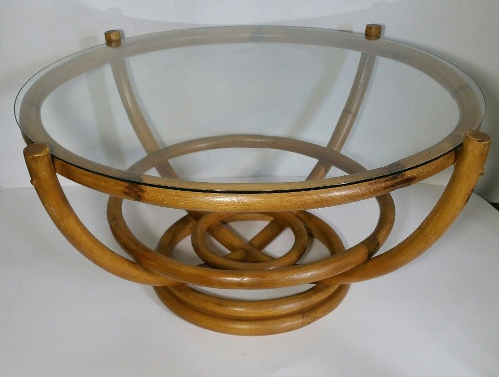 Vintage Round Bamboo Coffee Table With Glass Top Mid Century