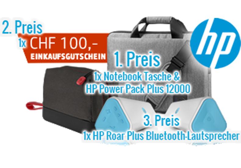 Gewinnne mit smartphoto einen Gutschein im Wert von 100 Franken für den HP Online-Shop!  Zusätzlich kannst du im Wettbewerb noch 1 x Notebook Tasche und HP Power Pack Plus 12000 im Wert von 168.- und 1 x HP Roar Plus Bluetooth-Lautsprecher (blau) im Wert von 99.- gewinnen.  Nimm hier gratis am Wettbewerb teil: http://www.gratis-schweiz.ch/gewinne-einen-hp-gutschein-im-wert-von-100/