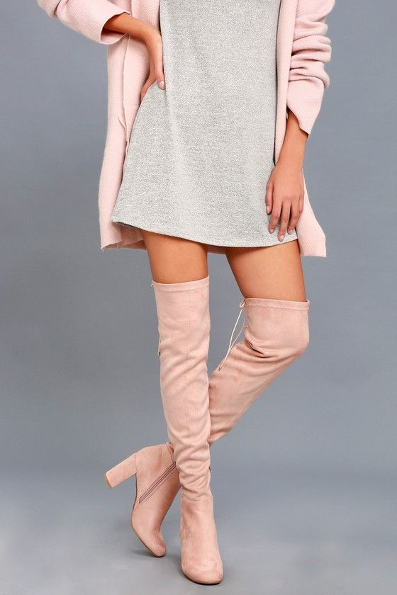 2d7d12a0bec1 KRUSH PINK SUEDE OVER-THE-KNEE BOOTS