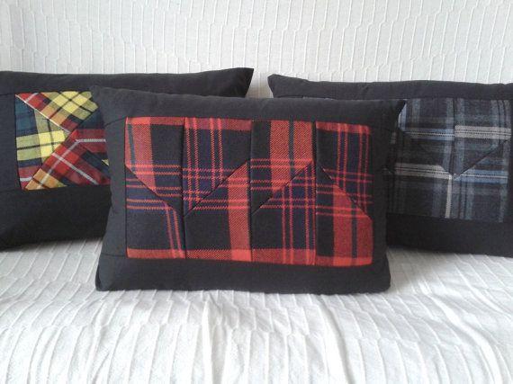 Tartan patchwork cushion black red & blue 18 by Oneofthreedesigns ... : tartan patchwork quilt - Adamdwight.com