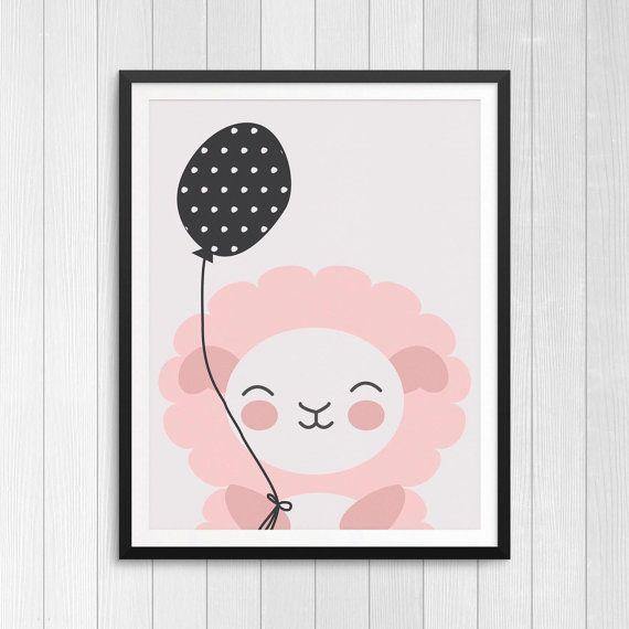 Cute! Lamb Illustration For Baby Nursery, Minimalist Kids Room. Printable  Wall Art For
