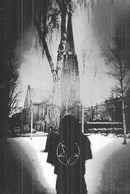 Rare picture of Varg Vikernes in front of a kappel