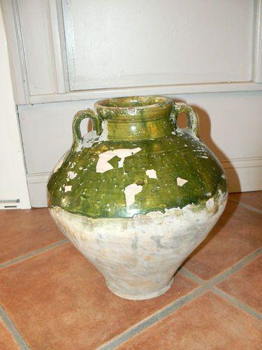 Ancienne jarre cruche provençale terre cuite émaillée verte ...