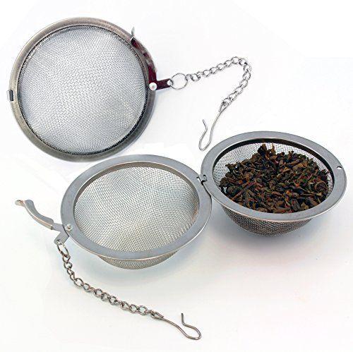 Extra Large Stainless Steel Tea Ball Strainers For Kombucha Loose Leaf Tea 2 Pack Loose Leaf Tea Strainers Kombucha