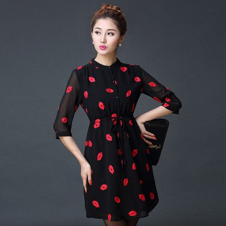 Vestidos Femininos Autumn Cute Red Lips Print Stand Collar Lined