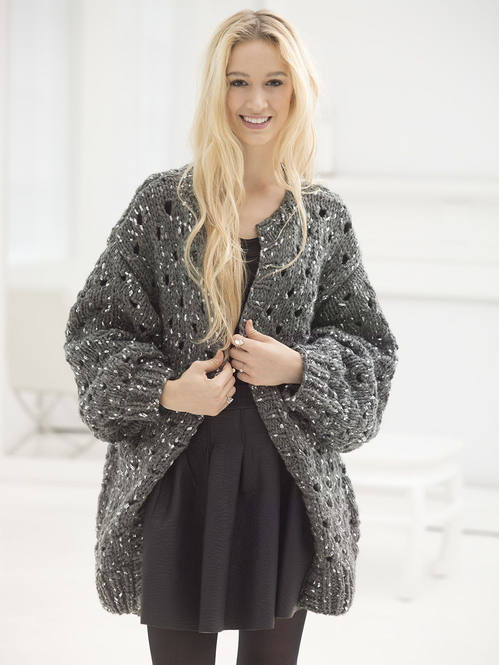 Knit this cozy cardigan with Lion Brand Gold Leaf - now ... - photo#28