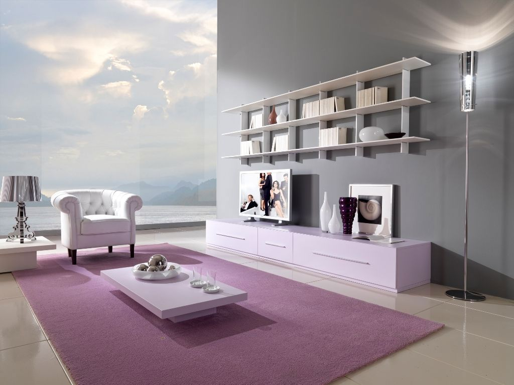 Top Cool Living Rooms Design With Grey Wall And Purple Carpet Design ...