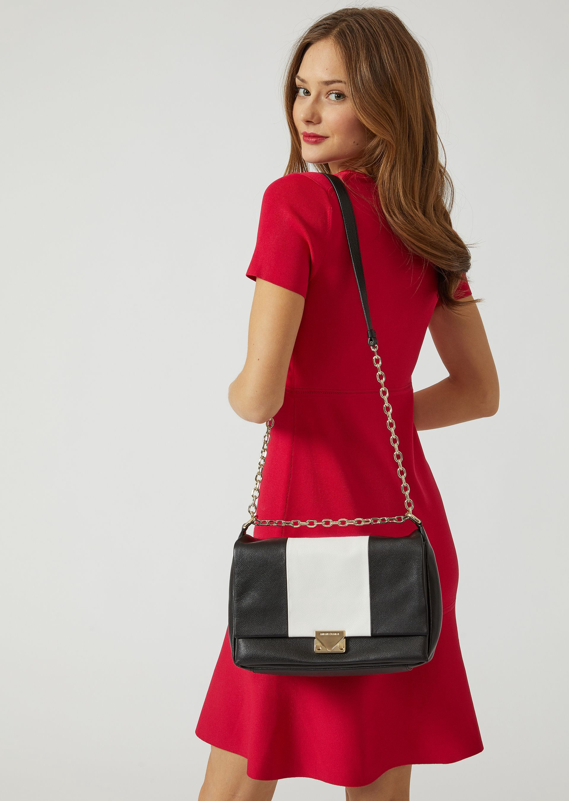 CROSS BODY BAG IN TWO-COLOUR LEATHER by Emporio Armani 9ba07899b8