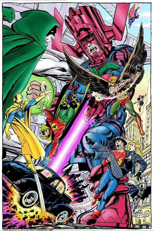 Galactus vs the Justice Society by John Byrne