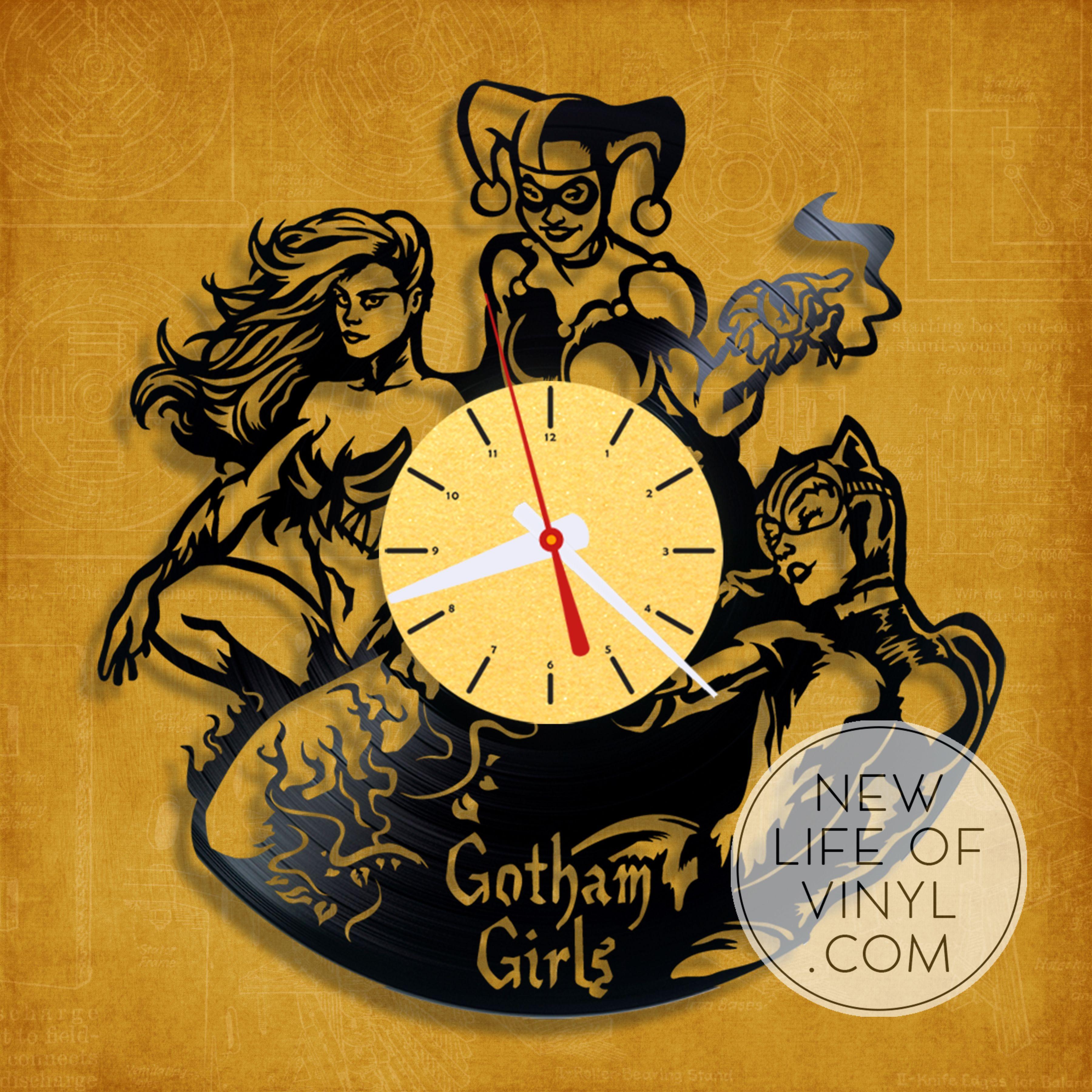 gotham_city_sirens #vinyl #clock, vinyl wall clock, vinyl #record ...