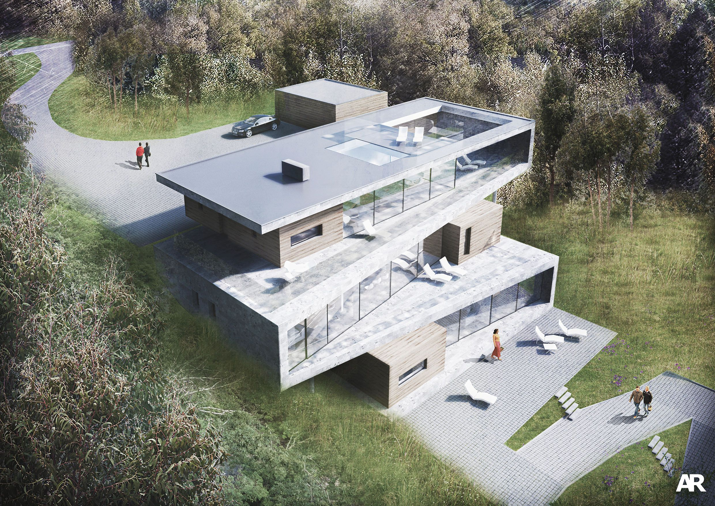 Hampshire based modern architects, AR Design Studio have designed a highly contemporary home. The bold form extends down the slope with inserted timber elements.