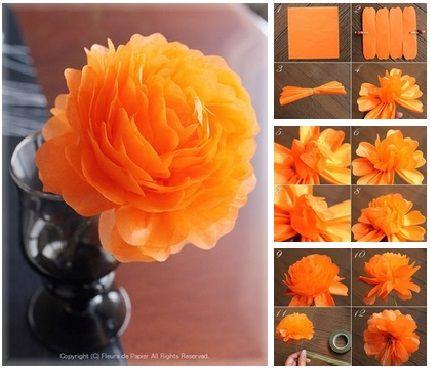 Hacer flores gigantes de papel china paso a paso 10 de - Manualidades con papel de colores ...