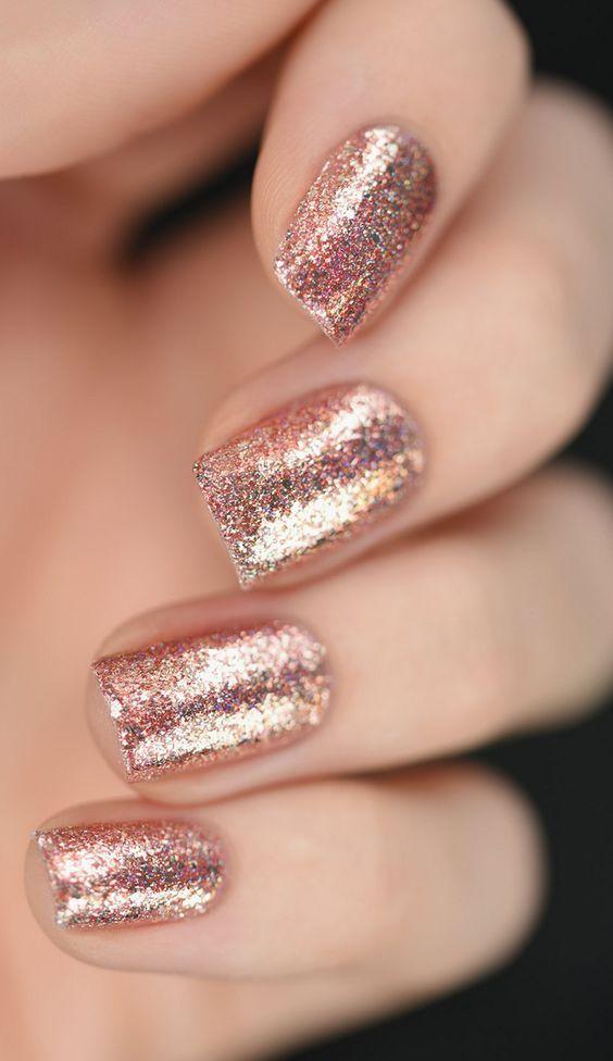 Rose Gold Glittery Nail Design! Rose Gold Wedding