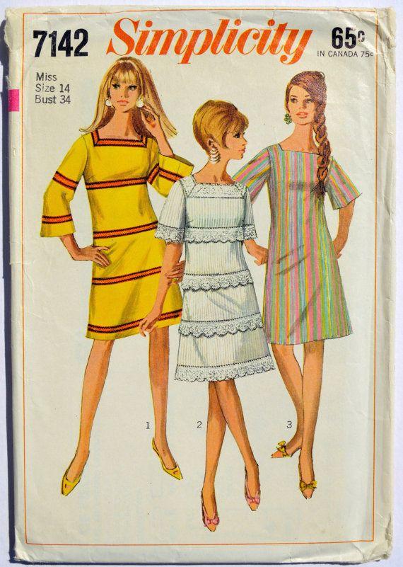 Vintage Simplicity 7142 Sewing Pattern Women\'s Mod Dress 1960\'s ...