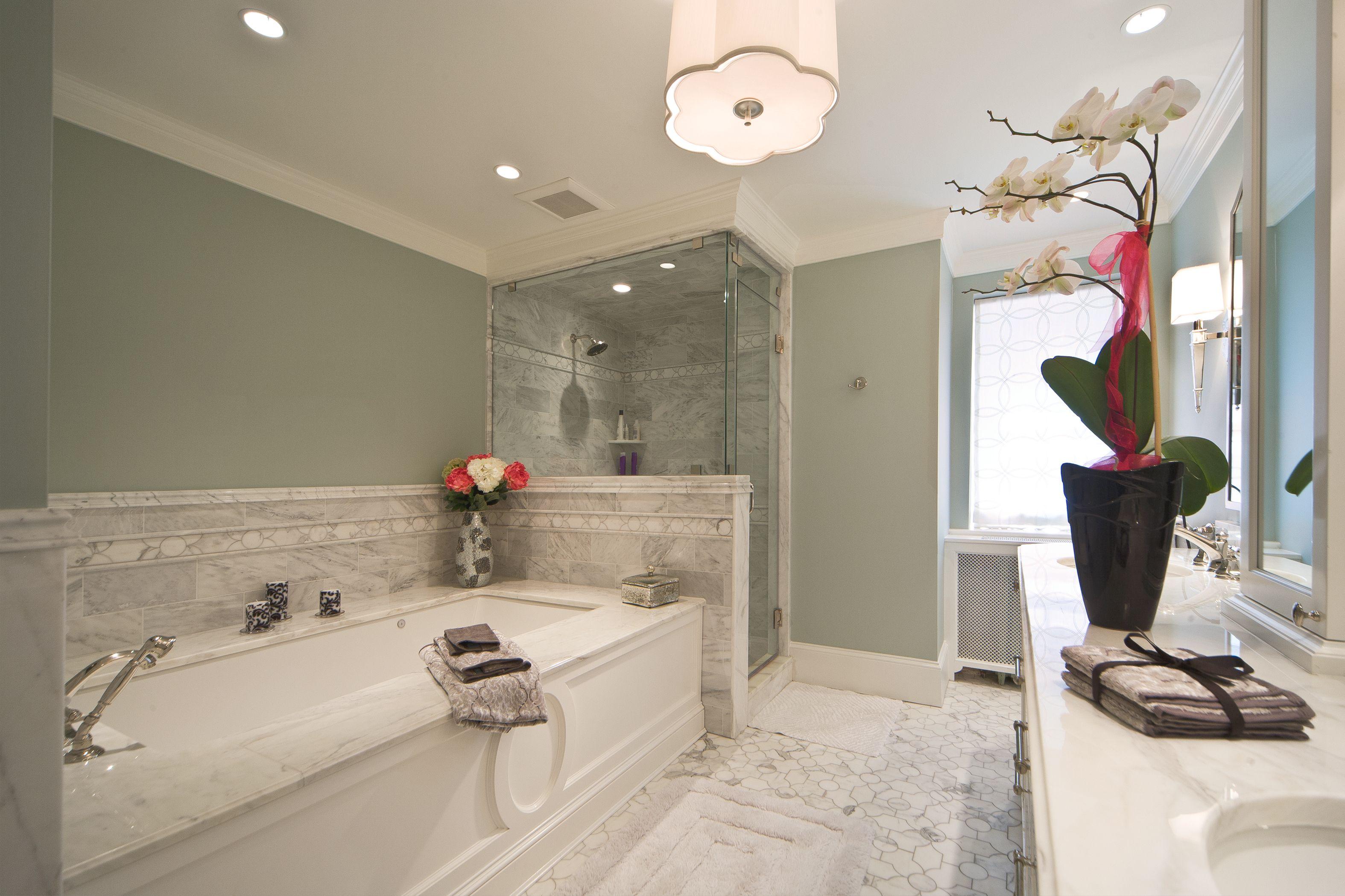 Master Bathroom Renovation With Custom Marble Floor And Steam