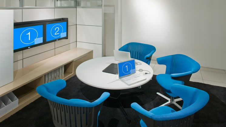 Cool Conf Room Idea Round Table Two Monitors