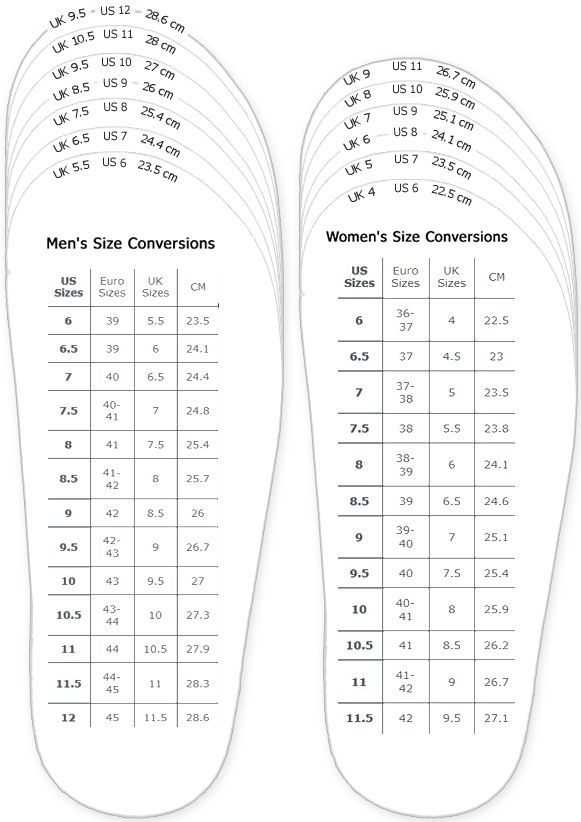 Shoes measurement chart for printable adult men and woman shoes