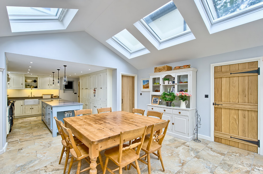 Kitchen Extension With Pitched Roof And Velux Windows