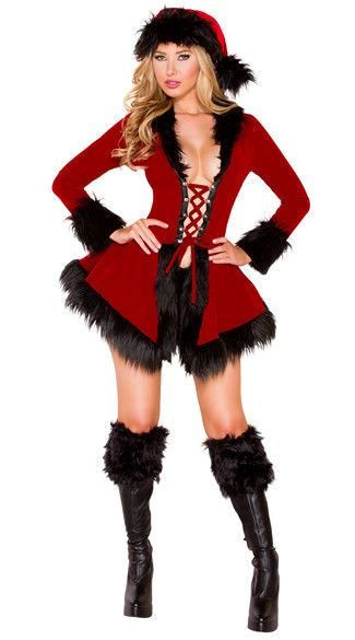 5ba63e8cadade Dark Santa DRESS w/ Boot Toppers NEW RED HOLIDAY Christmas Faux Fur Lace Up  Velv #Roma