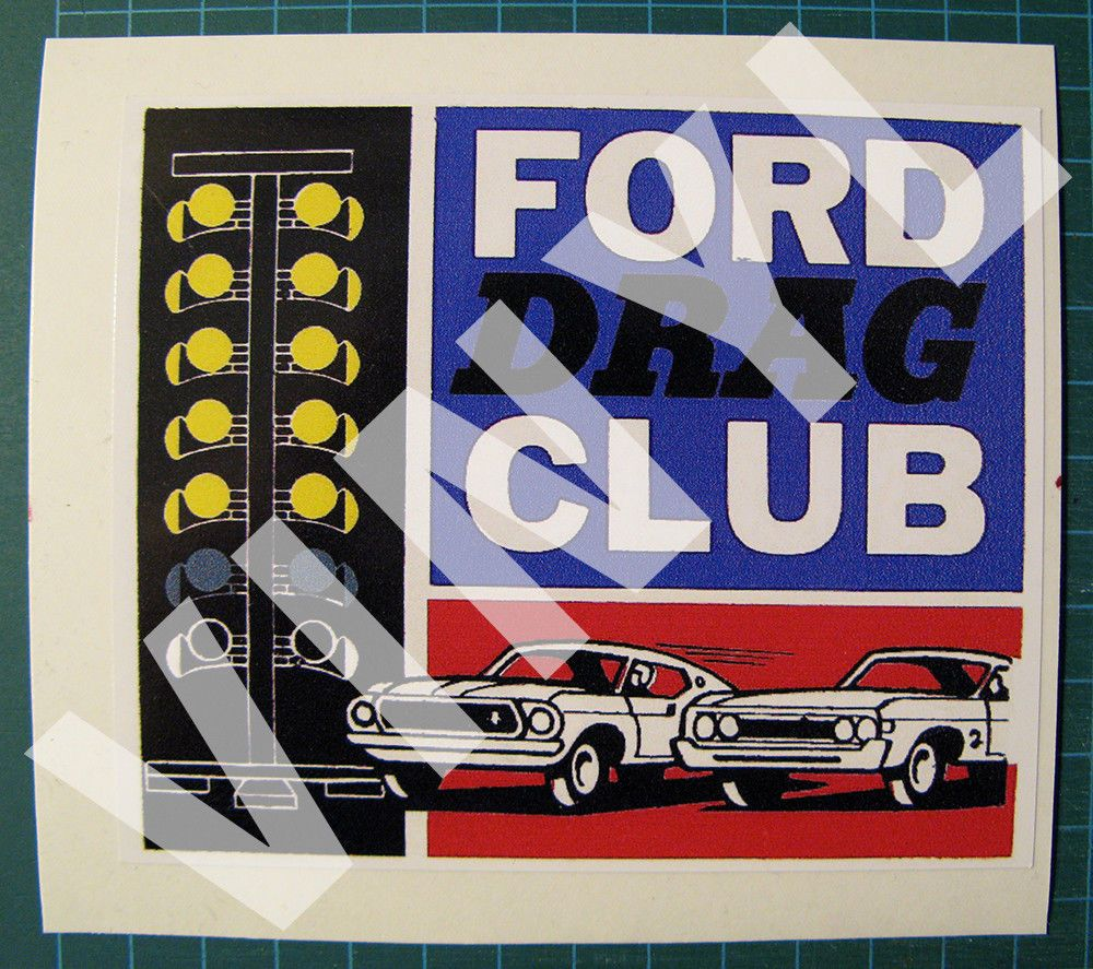 Ford Drag Club Drag Racing Vinyl Decal Sticker Vintage Look 4