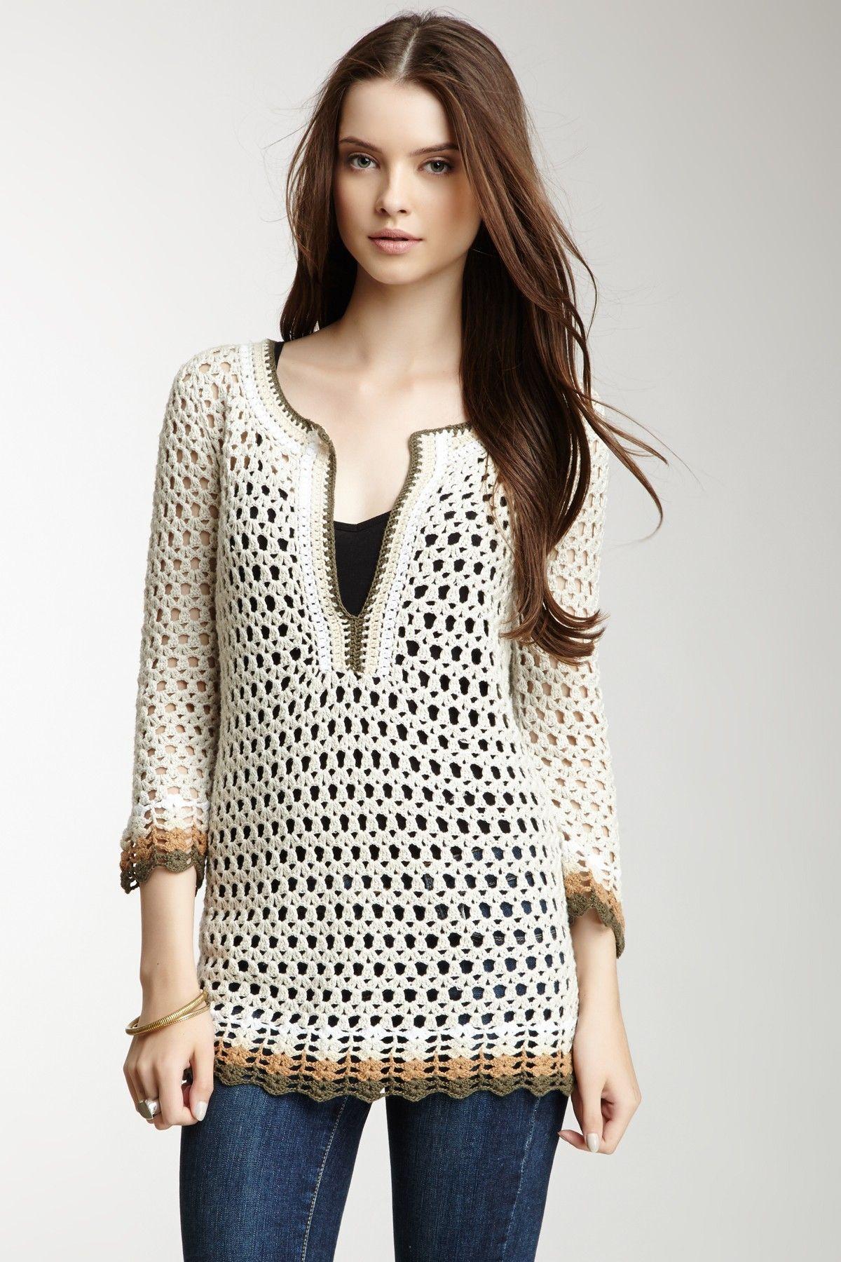 Split Neck Crochet Tunic on HauteLook | Crochet | Pinterest