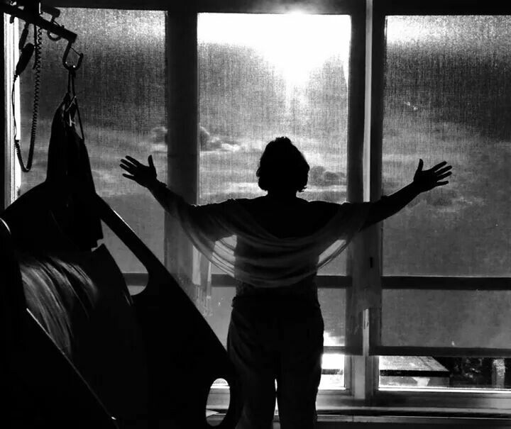"""""""Hope Shines Through""""   Sherry Silsby looking out from her hospital room after breast cancer surgery."""