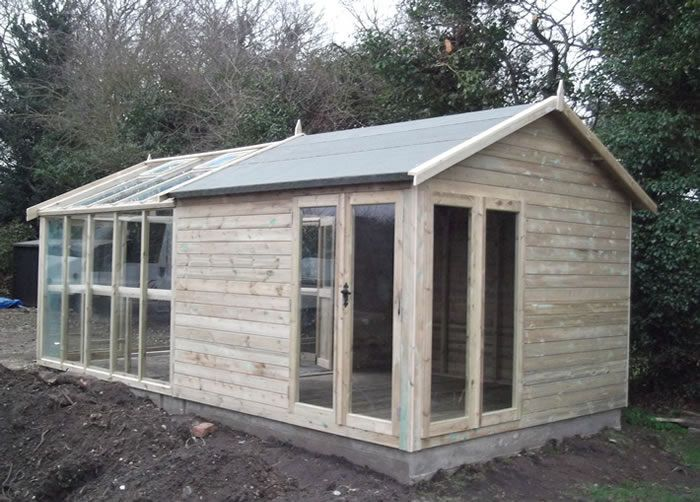 Combination greenhouse potting shed green house glass for Buy potting shed