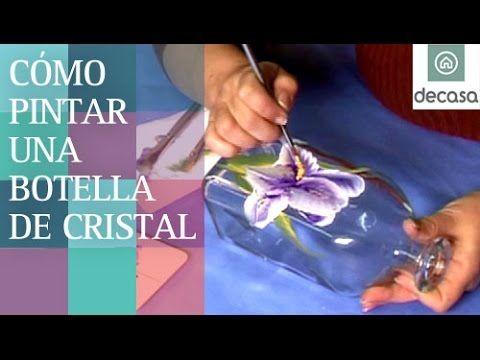C mo pintar una botella de cristal pintura a mano alzada - Como pintar azulejos a mano ...