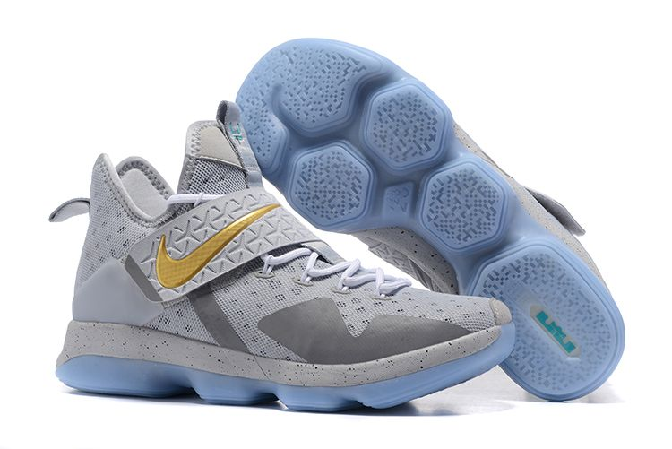 "1b9ef81dc00 Nike LeBron 14 ""Opening Night"" Wolf Grey Gold-Green Free Shipping ..."