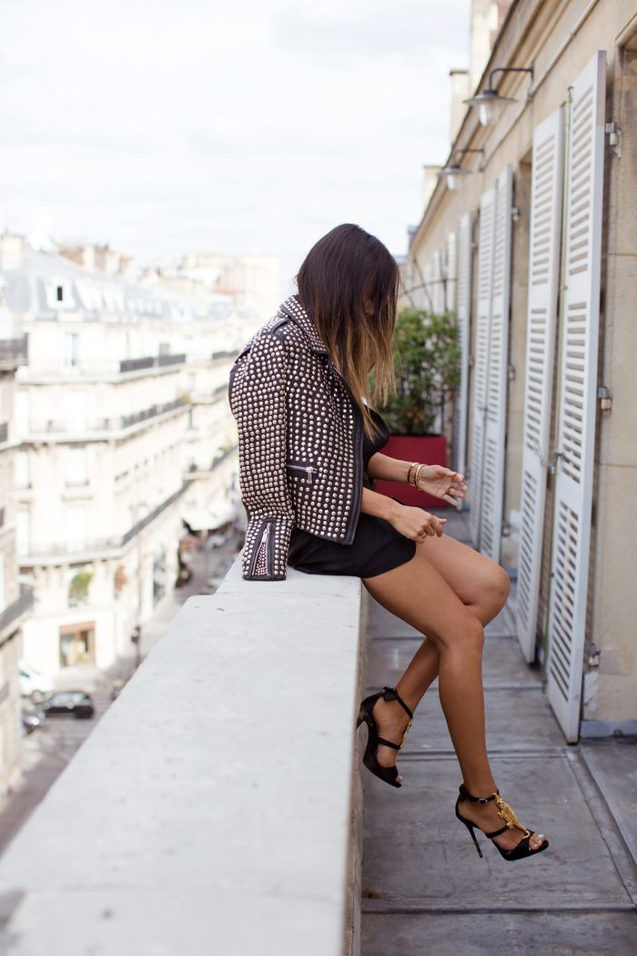 song-of-style-Barbara Bui studded-leather-jacket-paris