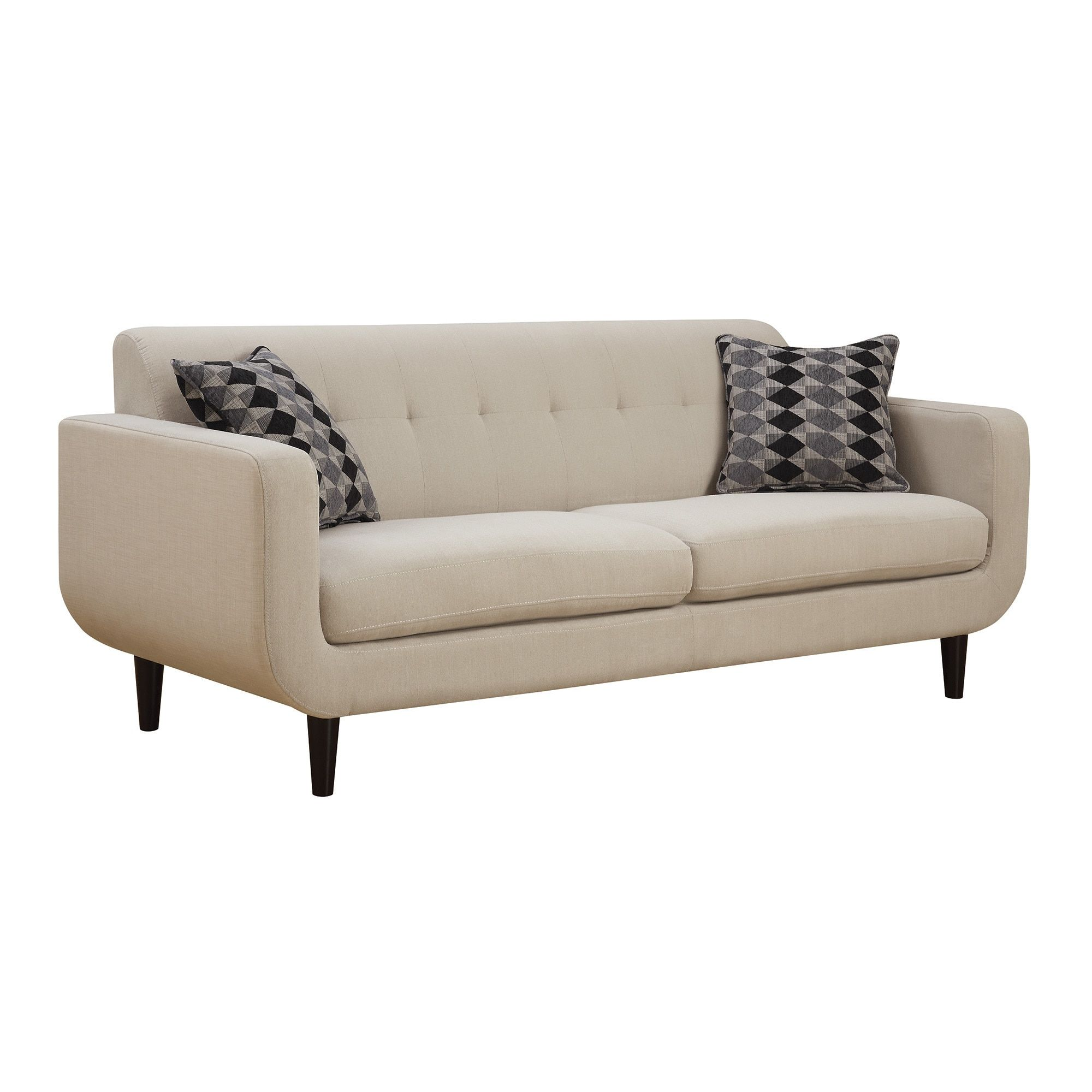 Best Coaster Company Ivory Mid Century Sofa Loveseat Brown 400 x 300